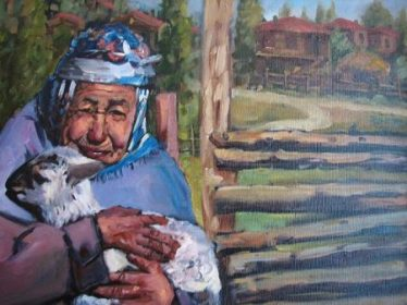 Old woman with sheep